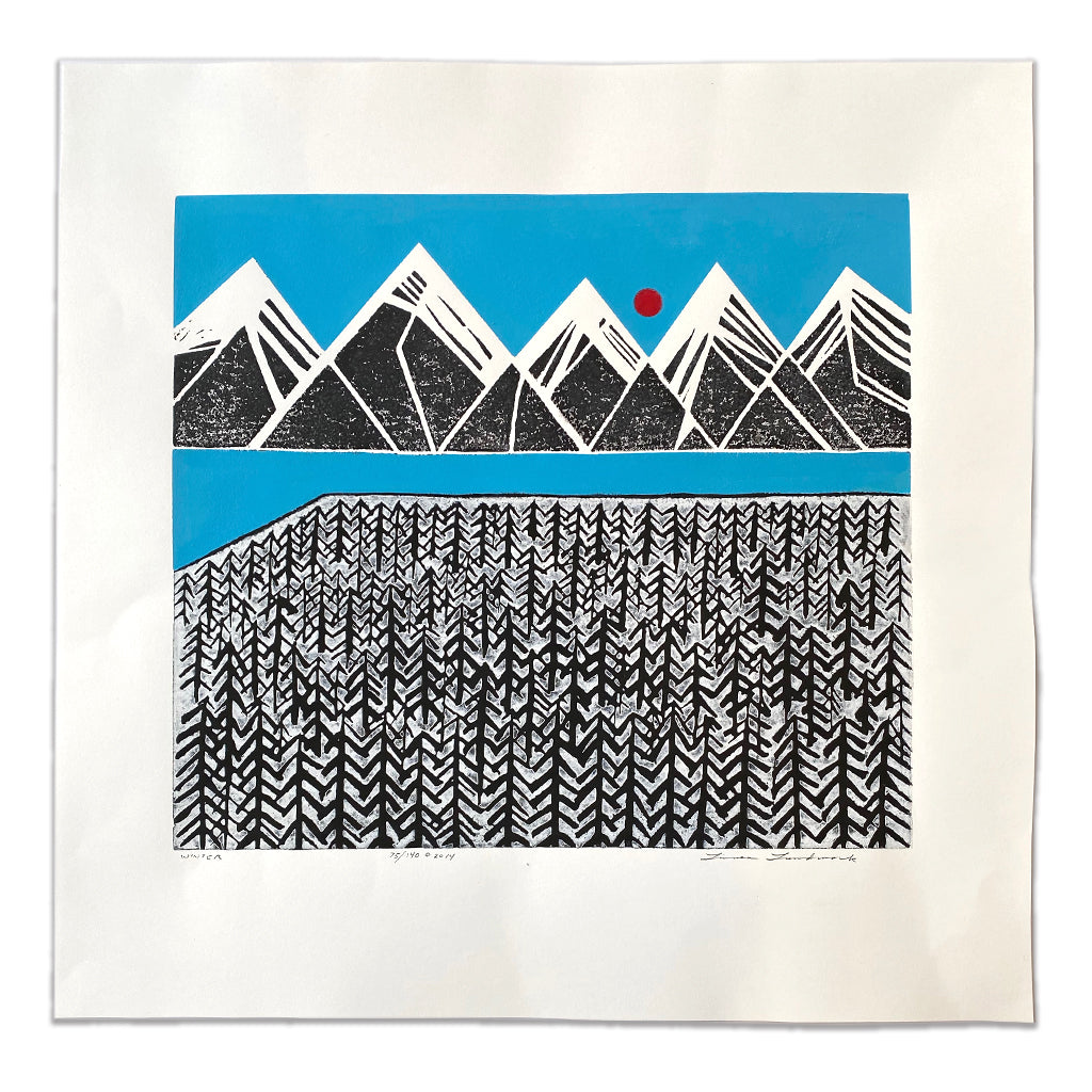 "Linoleum Block Print - ""Winter"""
