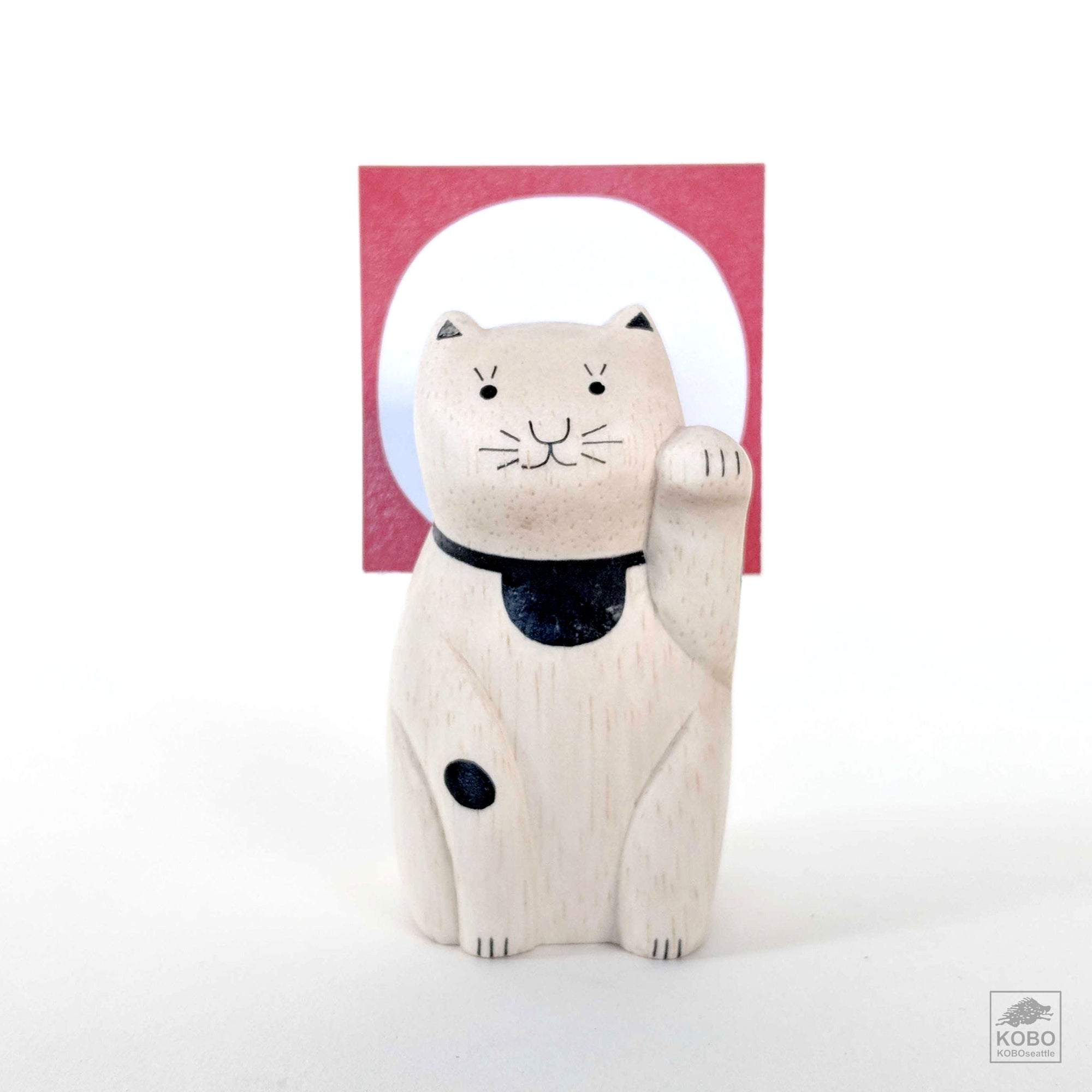 Wood Maneki-neko Card Holder