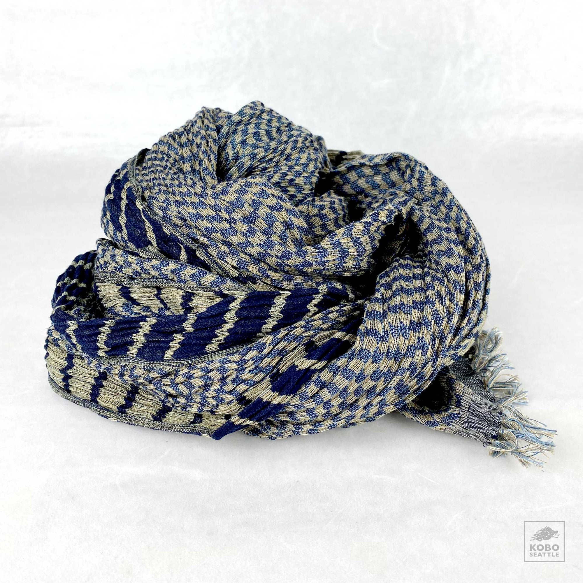 Handwoven Silk Crinkled Scarf - Checks and Stripes