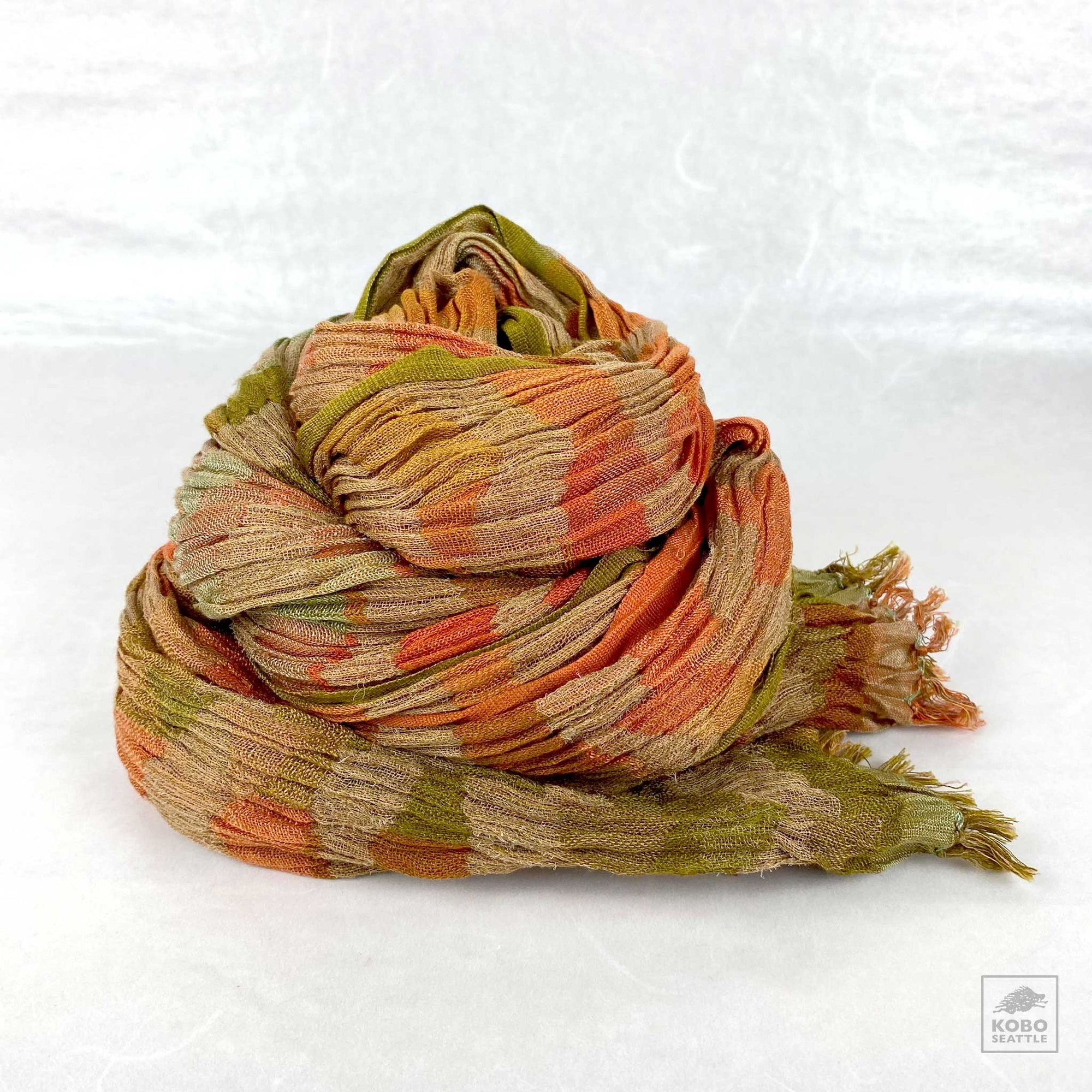 Handwoven Silk Crinkled Scarf - Stripes
