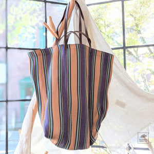 Large Market Bag - Peach stripes