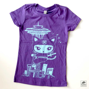 Girl's T-shirt in Purple w/ blue or pink ink - Ninja Cat & Space Needle