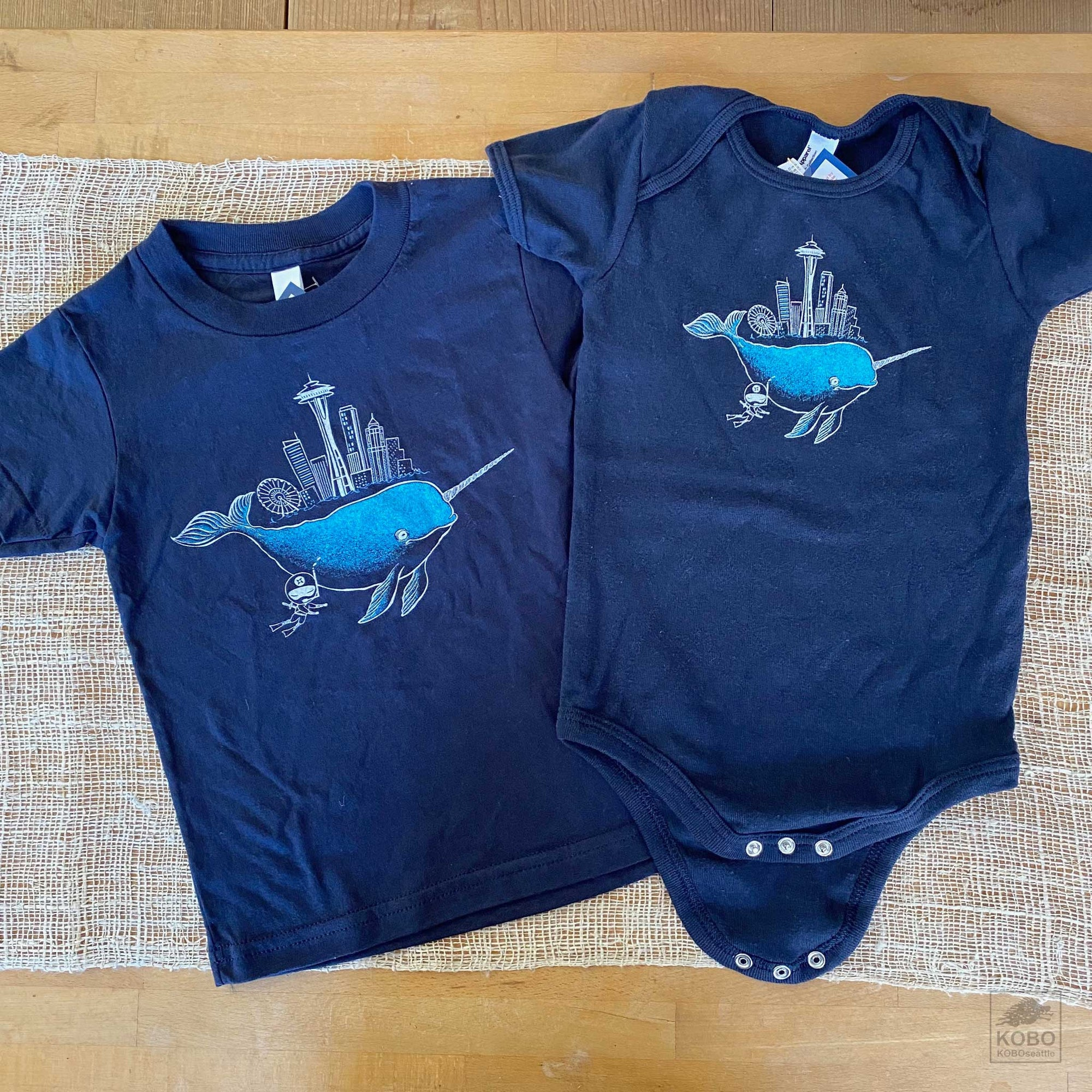 Kid's T-shirt & Onesie, Narwhal in Seattle by Namu