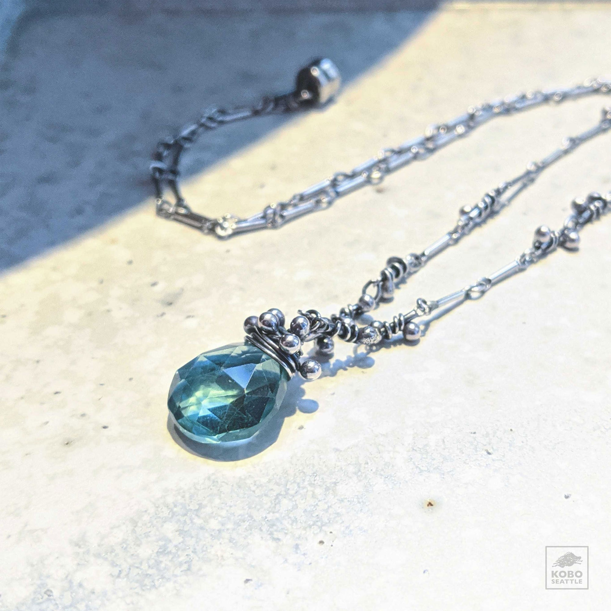 Aqua Quartz Pendant Necklace Zuzko