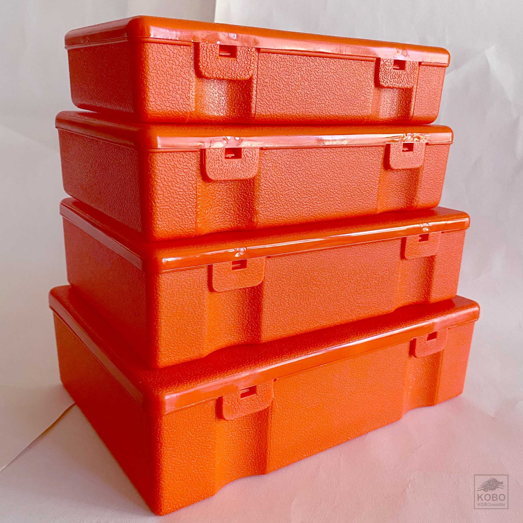 Plastic Orange Storage Containers - set of four
