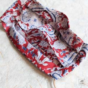 Organic Cotton Mask - Red Paisley Block Print