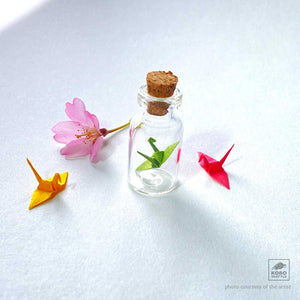 Tiny Crane-in-a-Bottle by Sakiko