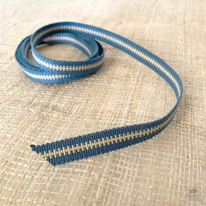 Cotton Woven Cord by Sanada Himo Japan - Blue/Cream