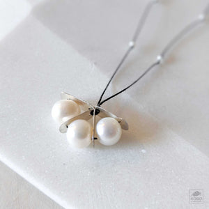 Pearl + Silver Fan Necklace
