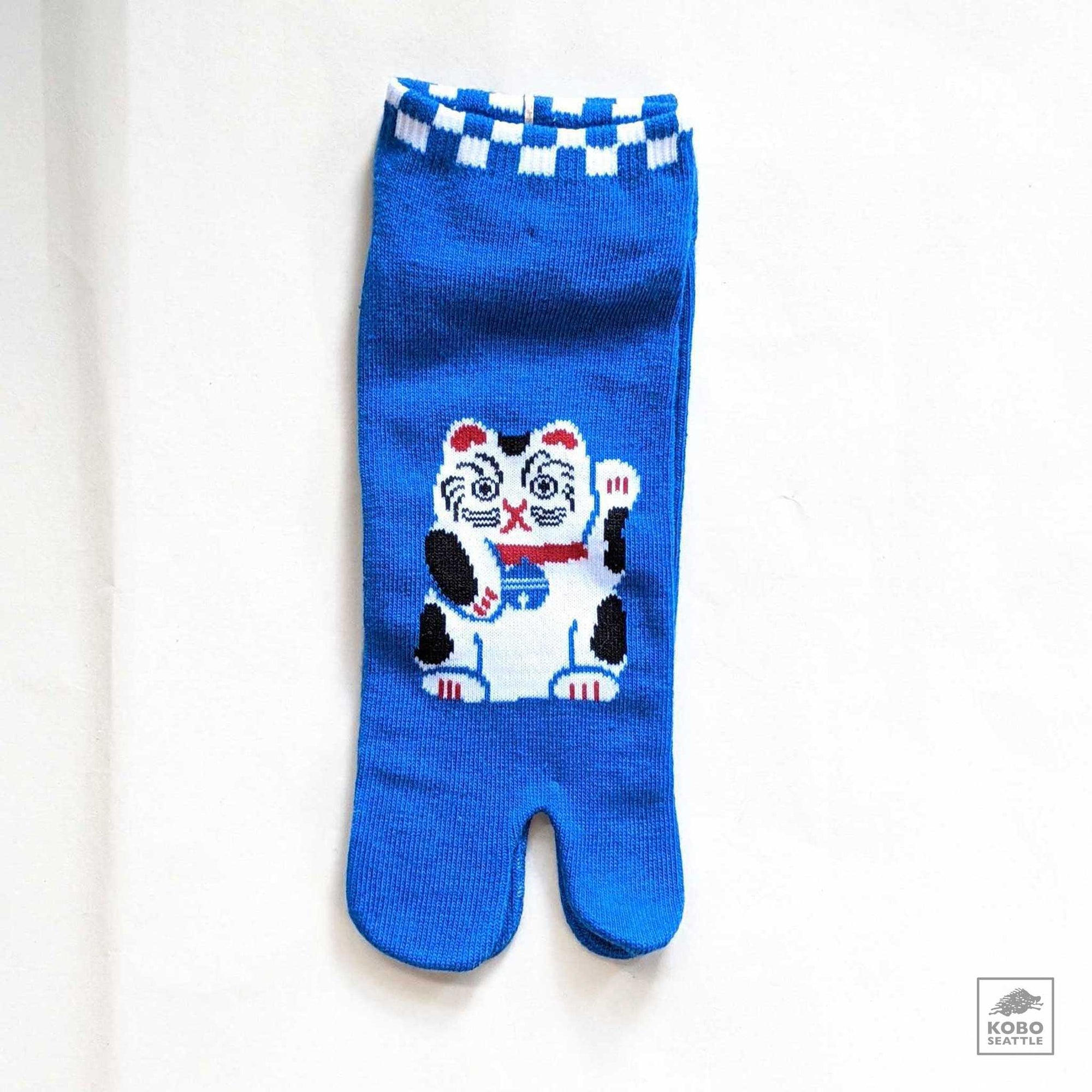 Tabi Ankle Socks M/L - Maneki Neko on Blue