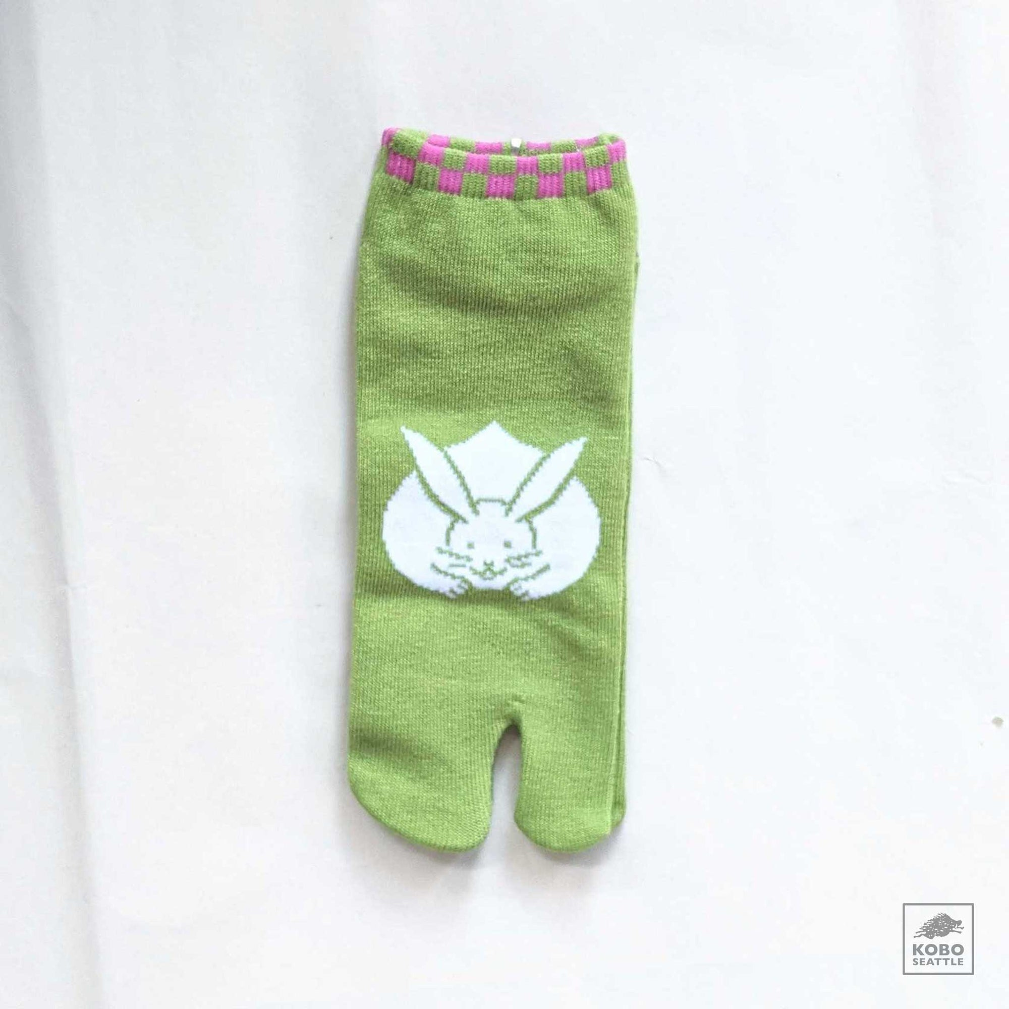 Tabi Ankle Socks M/L - Usagi on Green