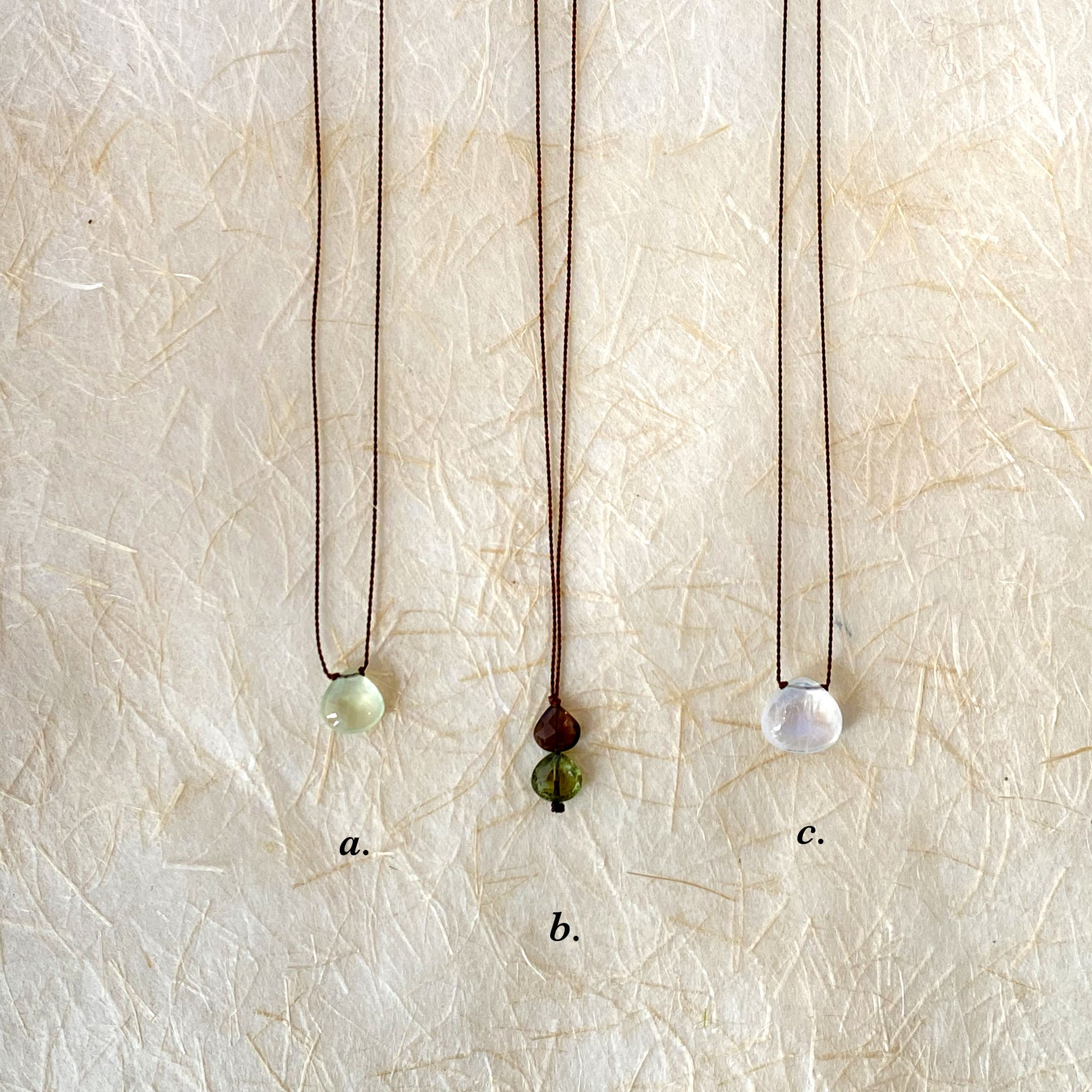 Margaret Solow Pendant Necklaces: Prehnite, Grey + Smokey Quartz, Rainbow Moonstone