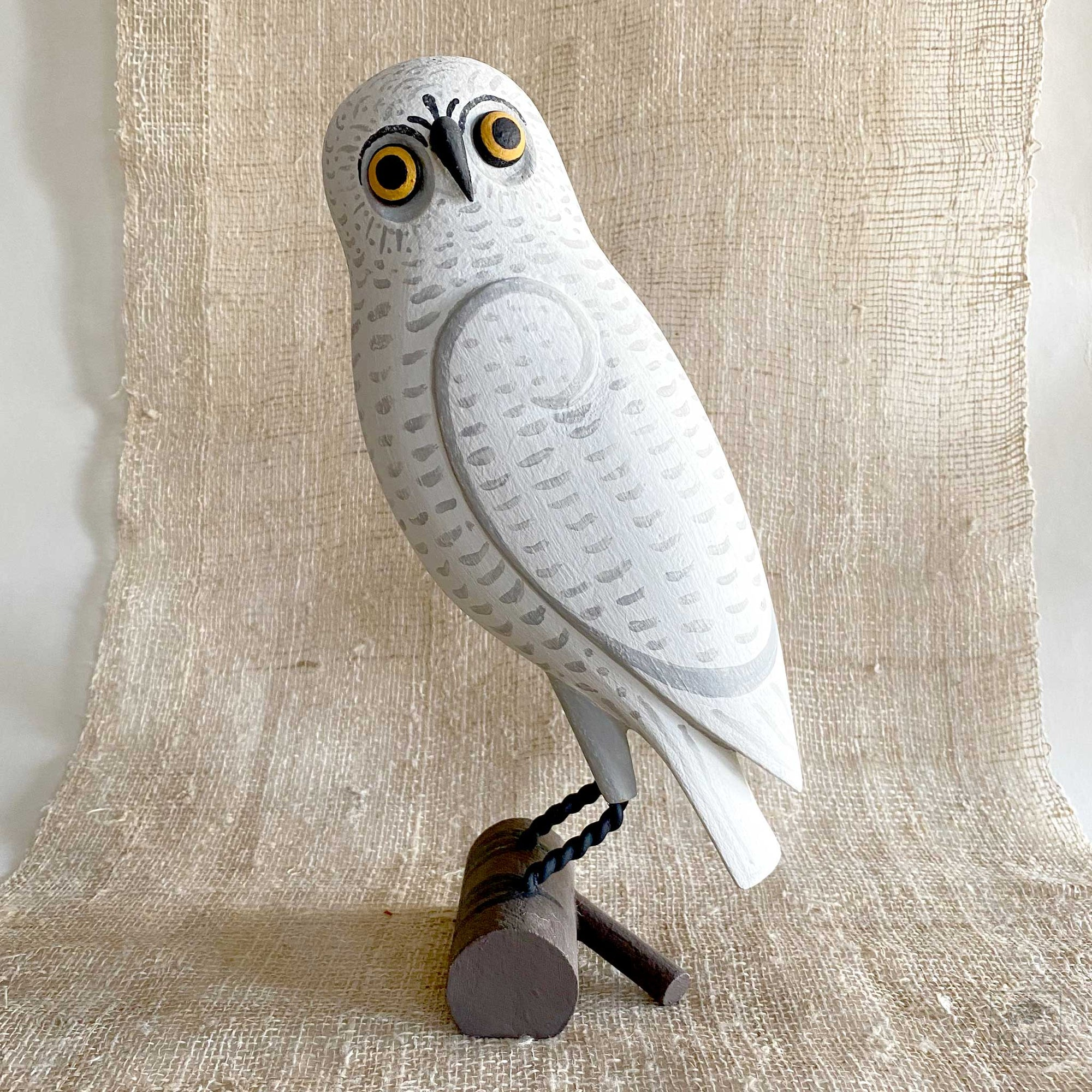 White Owl Wood Carving