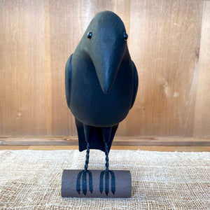 Crow Perched on Branch Wood Carving