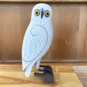 White Owl on Branch Wood Carving