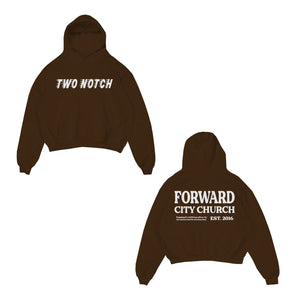 TWO NOTCH HOODIE : : DARK CHOCOLATE