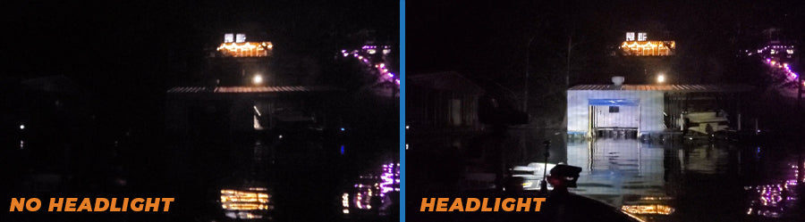 An image showing the difference between the same scene with and without a headlight.