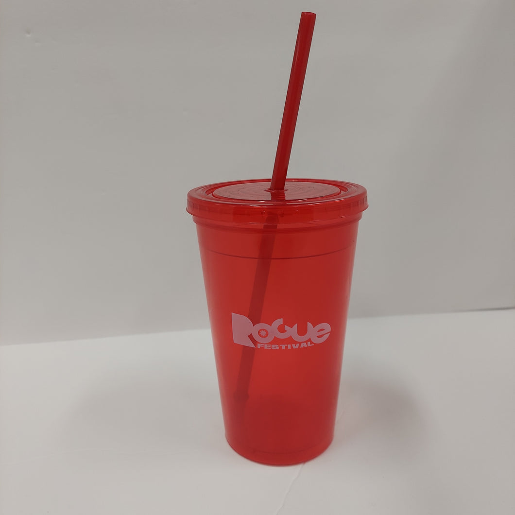 Rogue Festival reusable cup with straw