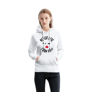 Better Late Than Ugly with red Lips Women's French Terry Hoodie