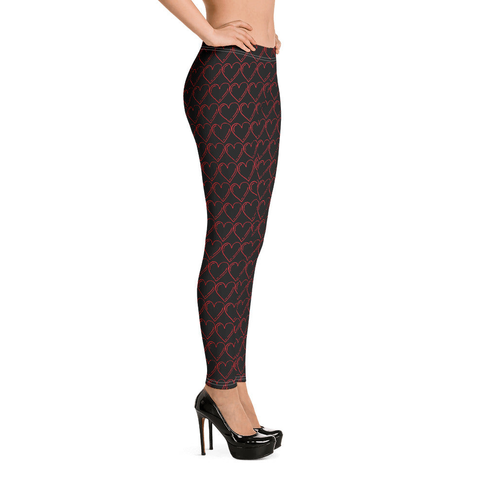 Red Open Hearts on Black Leggings Black Stitching