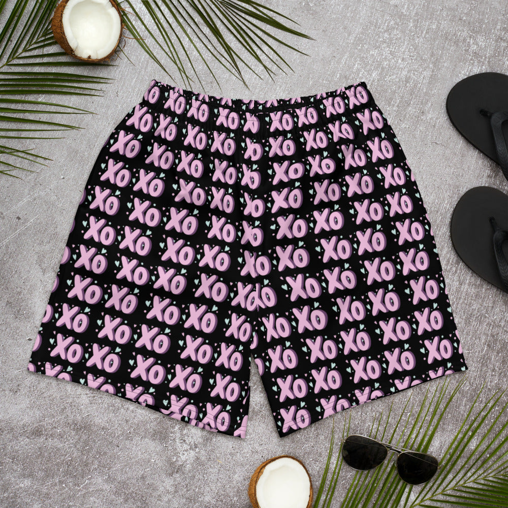 Pink Patterned XOXO on Black Shorts Black Thread