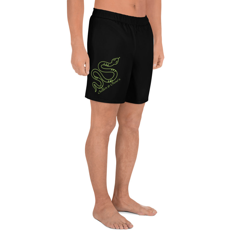 Green Chillin @ Choo's with Green Snake on Black Shorts Black Thread