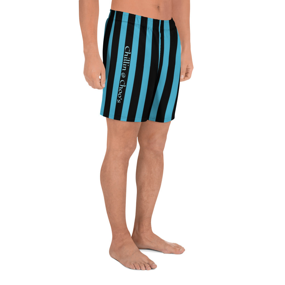 Light Blue Chillin @ Choo's with Light Blue Stripes on Black Shorts Black Thread