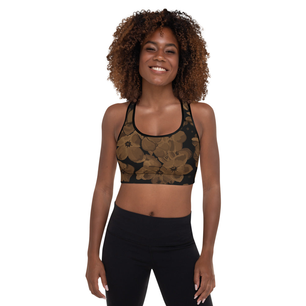 V Flowers 1 Number 49 Padded Sports Bra Black Stitching Stitching