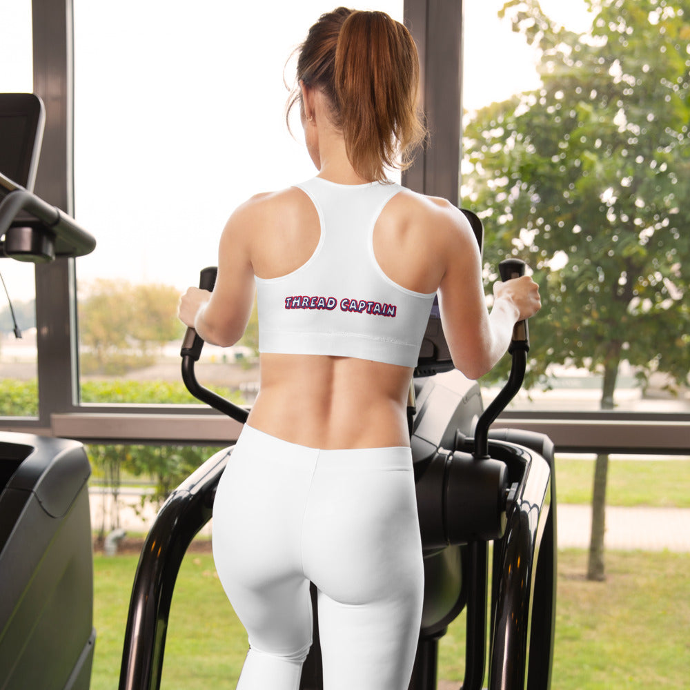CH00BOOM! Thread Captain W/White Stitching & White Stitching Padded Sports Bra