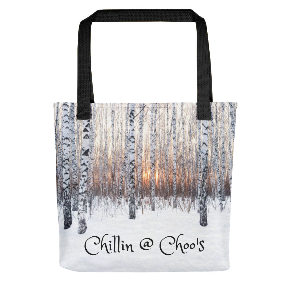 Chillin @ Choo's Winter Snow Sunset Scene Tote Bag