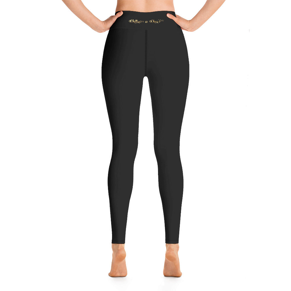 Black with Chillin @ Choo's Gold Back Waistband and Black Stitching Yoga Leggings w/pocket