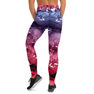 Mixed Watercolor 1 With Black Stitching Yoga Leggings w/pocket