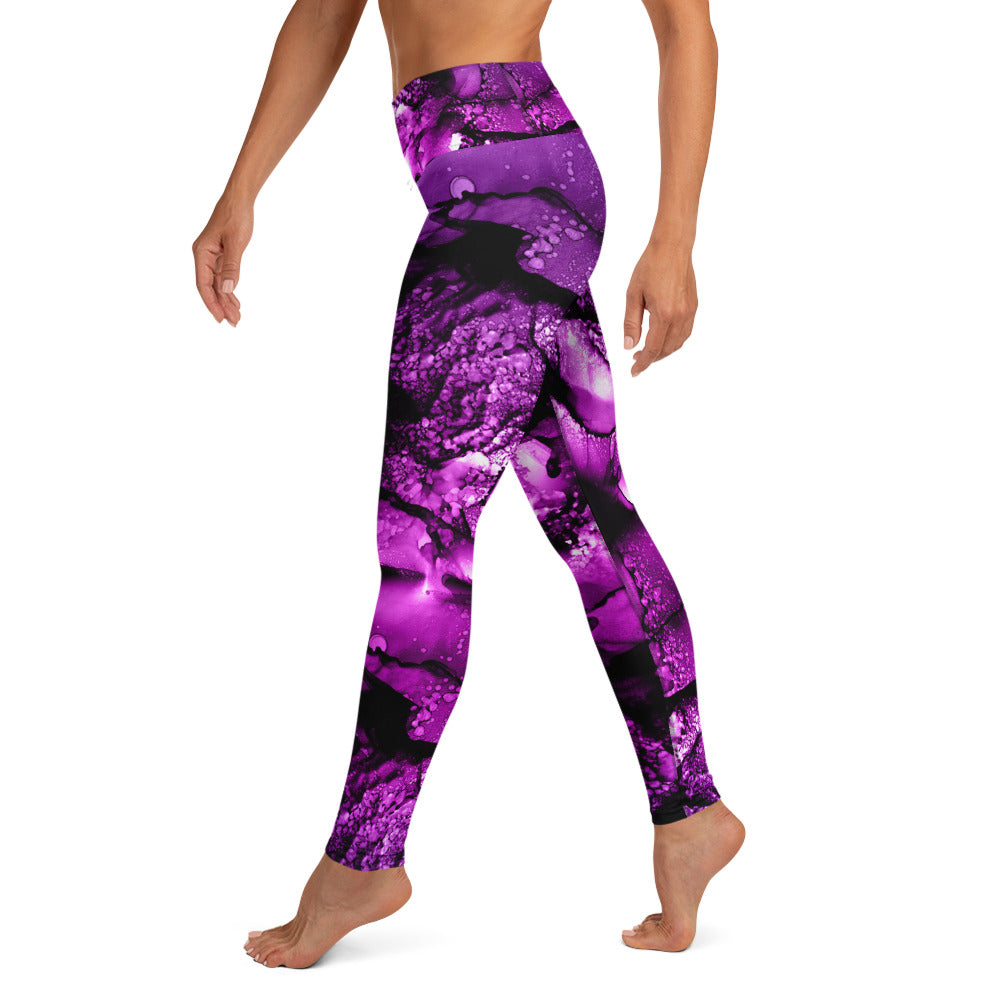 Mixed Watercolor Purple & Pinks 1 With Black Stitching Yoga Leggings w/pocket