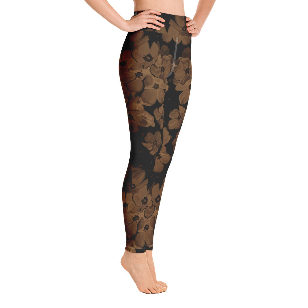 V Flowers Number #49 Black Stitching Yoga Leggings w/pocket