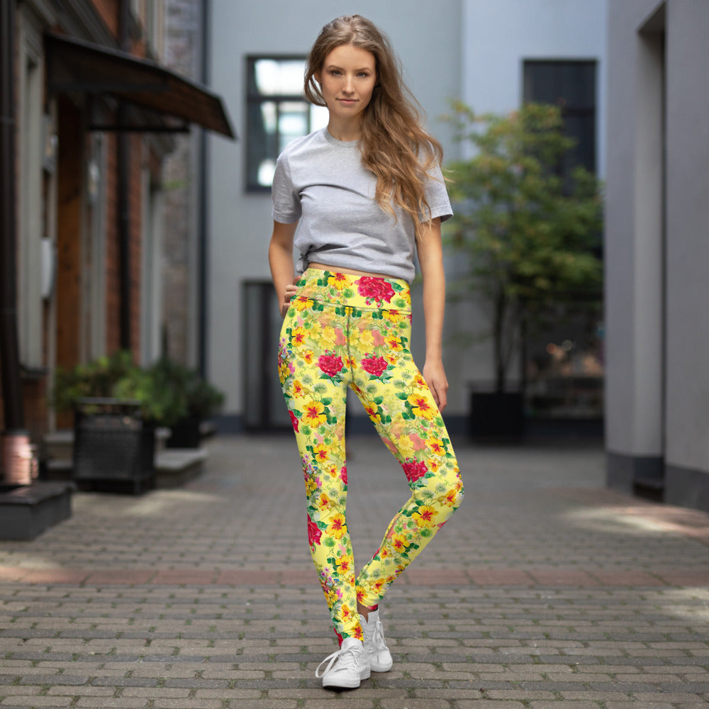 Flowers/Q Red/Yellow/Green with White Stitching Yoga Leggings w/pocket