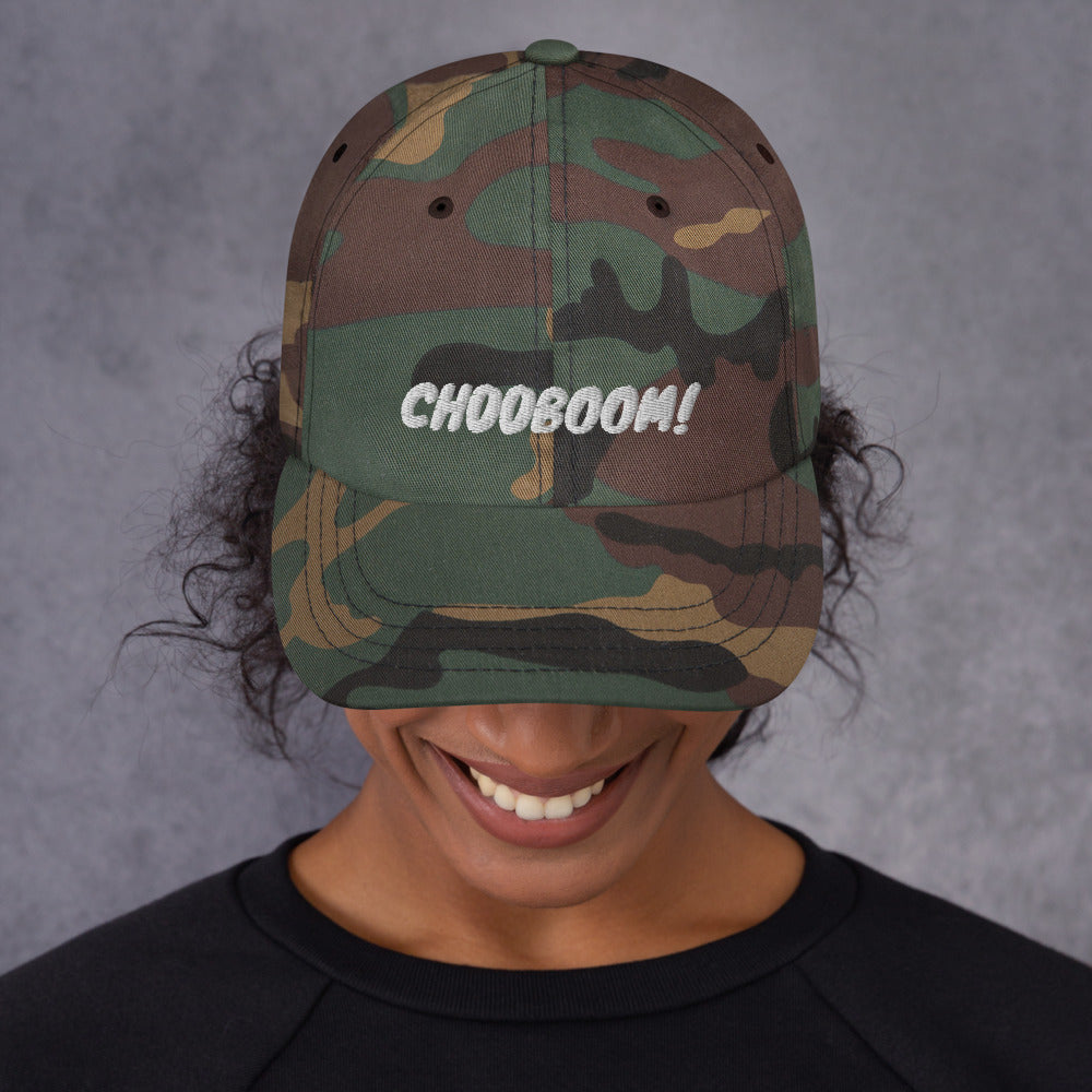 CH00BOOM! Dad Hat White Thread