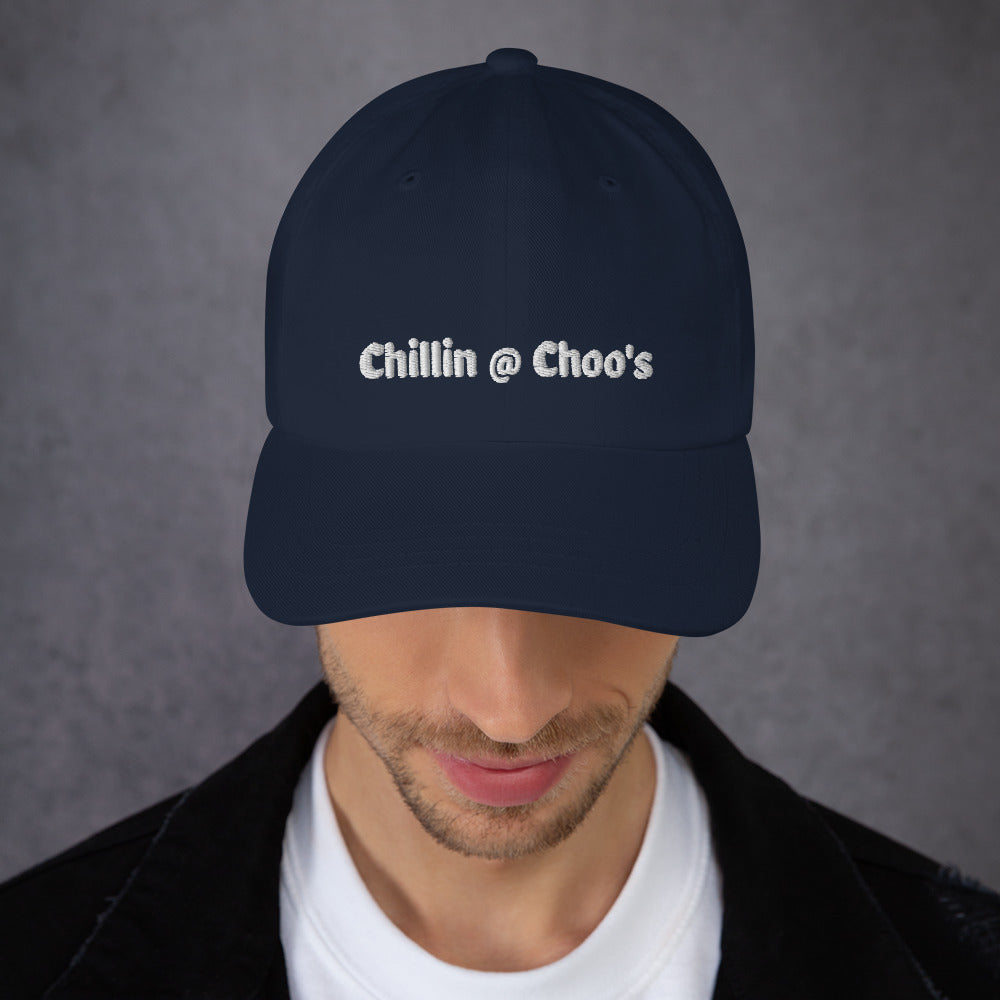 Chillin @ Choo's Dad Hat White Thread