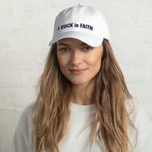 I ROCK in FAITH Dad Hat Blue Thread