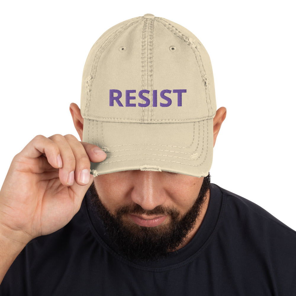 RESIST Distressed Dad Hat Purple Thread