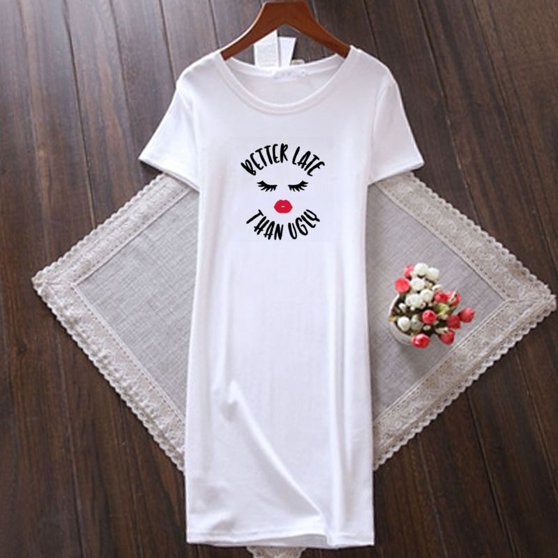 Better Late Than Ugly Women's Round Neck T-Shirt Dress