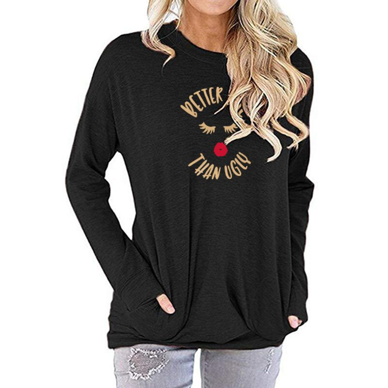 Better Late Than Ugly Gold and Red Lips Women's Long Sleeve T-Shirt