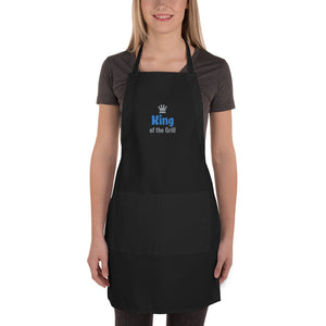 King of the Grill Blue/Grey Thread with Grey Crown Embroidered Black Apron
