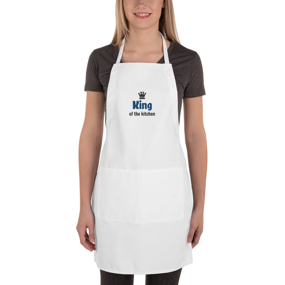 King of the Kitchen Blue/Black Thread with Black Crown Embroidered White Apron