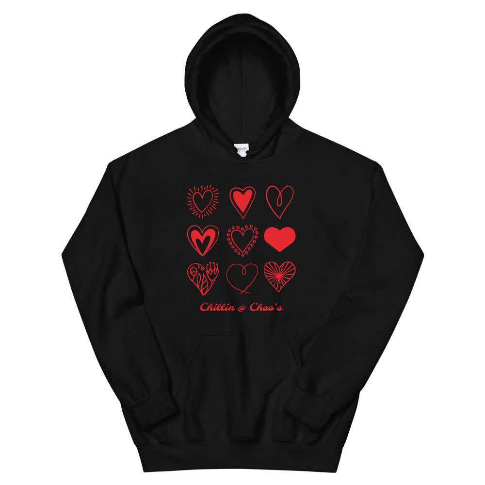 9 Red Hearts Chillin @ Choo's Unisex Hoodie