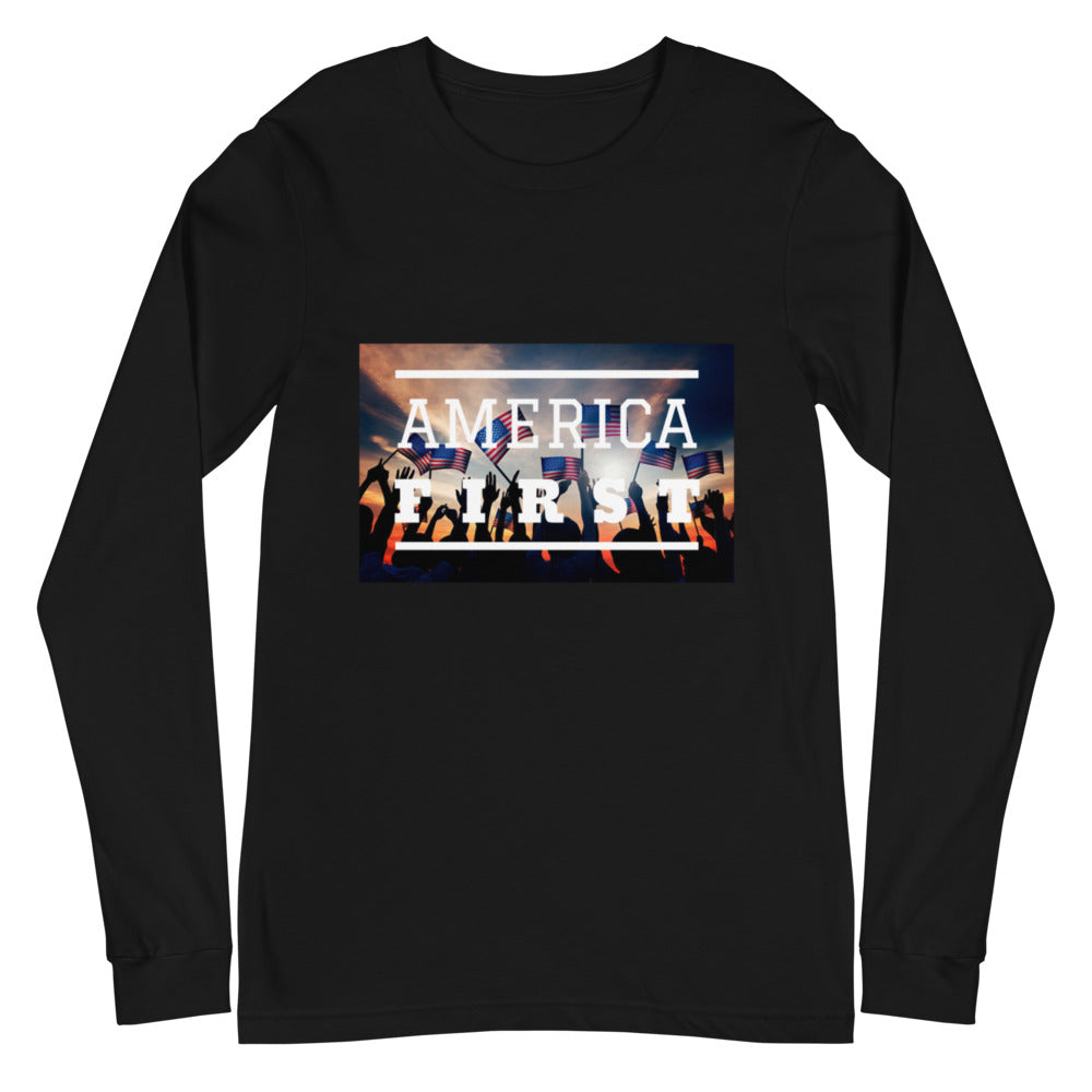 America First Crowd with USA Flags Black Unisex Long Sleeve Tee