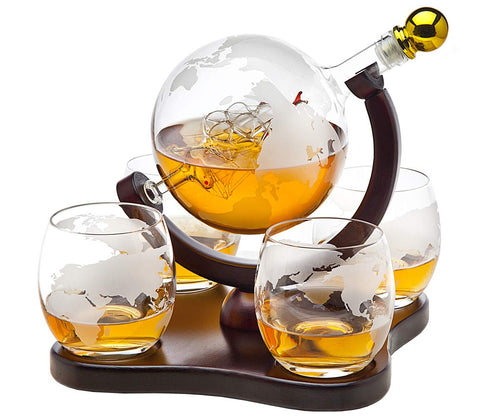 Buy Whiskey Decanter Globe Set With  Whiskey Glass Set -Golfing Utopia