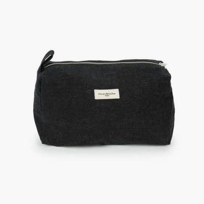 Alma Recycled Cotton Toiletry Bag - Black - BLU KAT