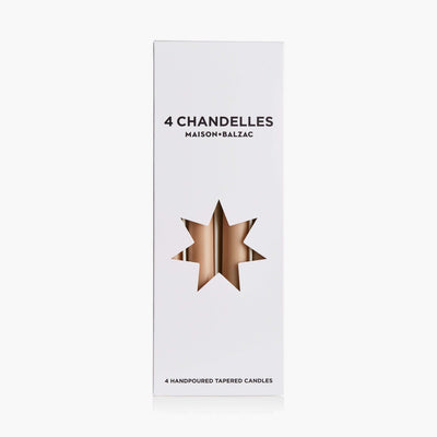 4 CHANDELLES - TAPERED CANDLES - Sable - BLU KAT