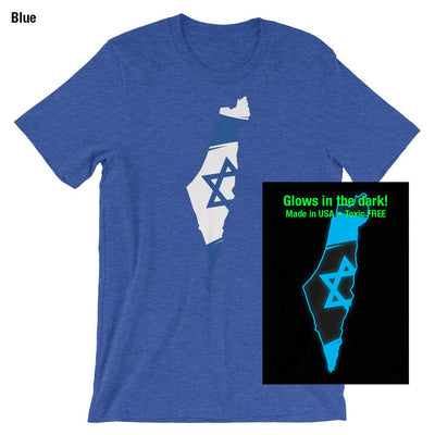 Israel Flag on Map Glow in the Dark T-Shirt
