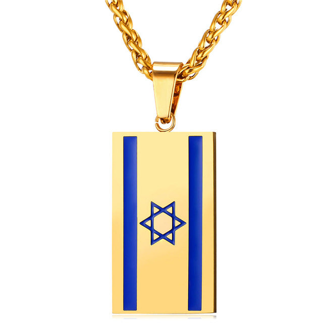 Israel Flag Necklace Pendant